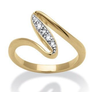 PalmBeach Round Cubic Zirconia 14k Yellow Gold-Plated Free-Form Ring Classic CZ