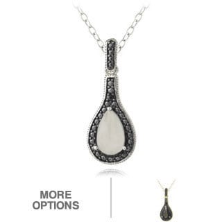 Glitzy Rocks Sterling Silver Moonstone and Black Diamond Accent Teardrop Necklace