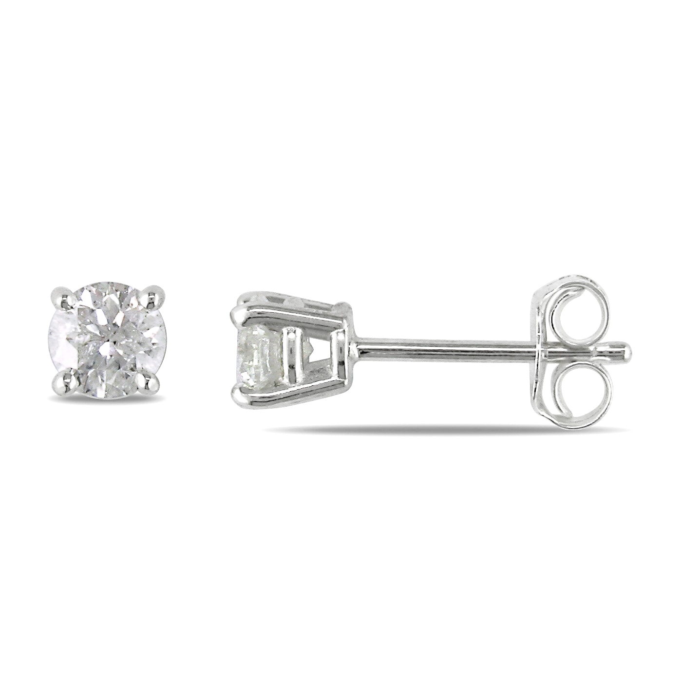 Miadora Sterling Silver 1/2ct TDW Diamond Solitaire Earrings (H-I, I2-I3)