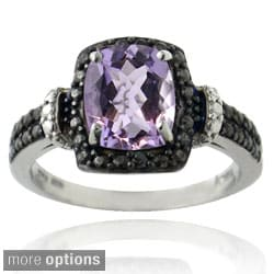 Glitzy Rocks SS or Gold Overlay Gemstone and Black Diamond Accent Rectangle Ring