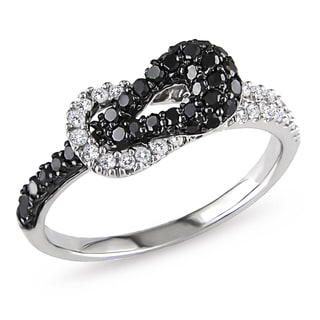 Miadora 10k White Gold 1/2ct TDW Black and White Diamond Buckle Ring