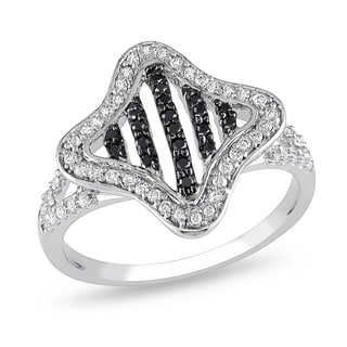 Miadora 10k White Gold 3/8ct TDW Black and White Diamond Ring