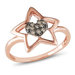 Miadora 14k Rose Gold 1/10ct TDW Brown Diamond Heart in Star Ring