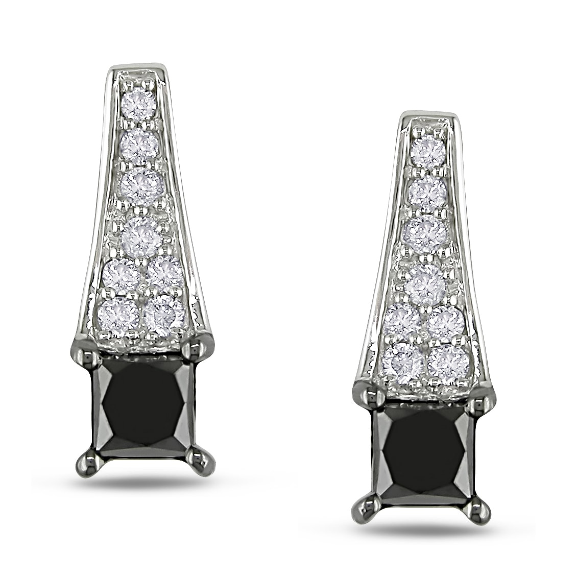 Miadora 14k White Gold 1ct TDW Black and White Diamond Earrings (H-I, I2-I3)