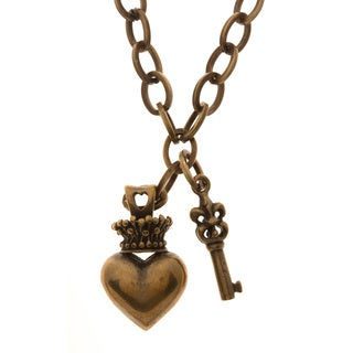 Charming Life Bronzetone 'Key to My Heart' Charm Necklace