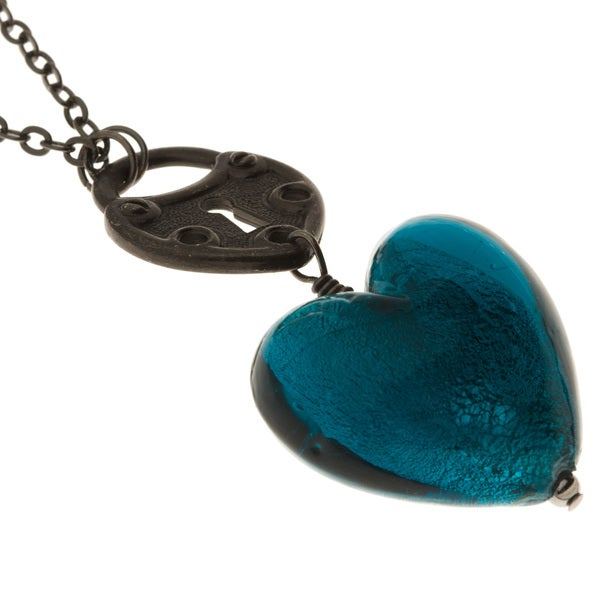 Charming Life Gunmetal Teal Glass Heart Necklace