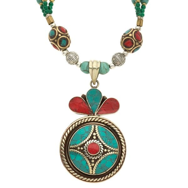 Charming Life Turquoise and Coral 'Tibetan Embellishment' Necklace