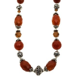 Charming Life Silver Carnelian and Crystal 'Sun of Fall' Necklace
