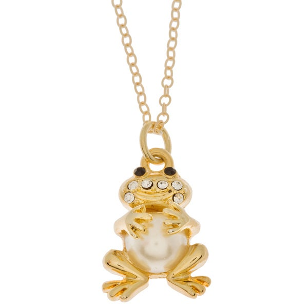 Charming Life Goldfill Black and White Crystal 'Kissing a Frog' Necklace