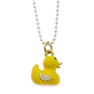 Charming Life Sterling Silver 'Rubber Duck' Enamel Duck Charm Necklace