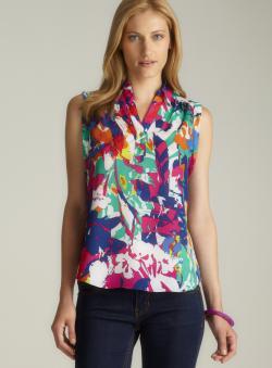 Cupio Sleeveless Floral Print Blouse