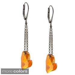 Charming Life Gunmetal 'Passionate Hearts' Red Crystal Earrings
