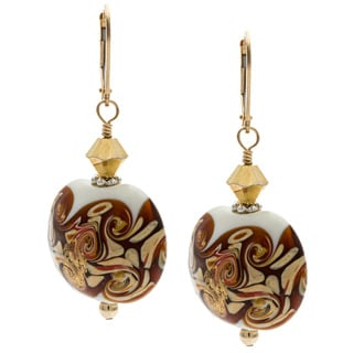 Charming Life 14k Goldfill 'Fancy in Brown' Glass Earrings