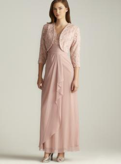 Patra Lace Chiffon Draped Jacket Dress