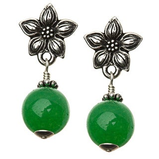 Charming Life Silver 'Green Jasmine' Quartz Post Earrings