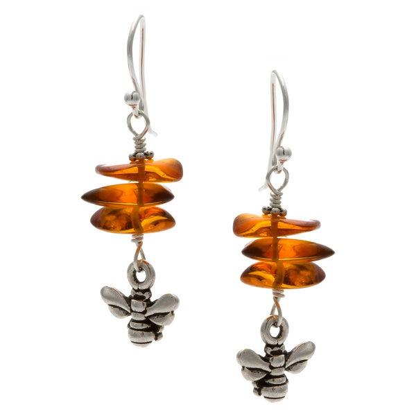 Charming Life Sterling Silver 'Honey Bee' Amber Hook Earrings