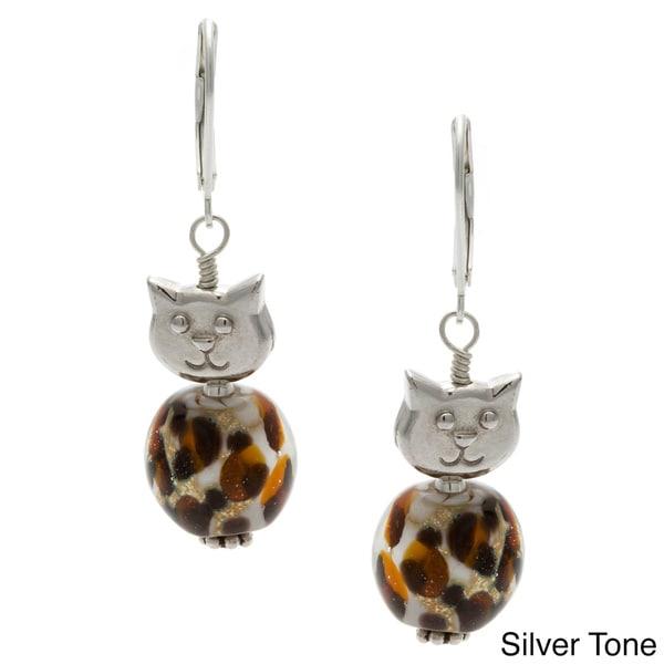 Lola's Jewelry Gold 'Meow' Leopard Glass Earrings 11342465