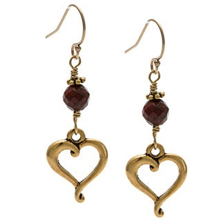Charming Life 14k Goldfill 'Blood's Heart' Garnet Hook Earrings