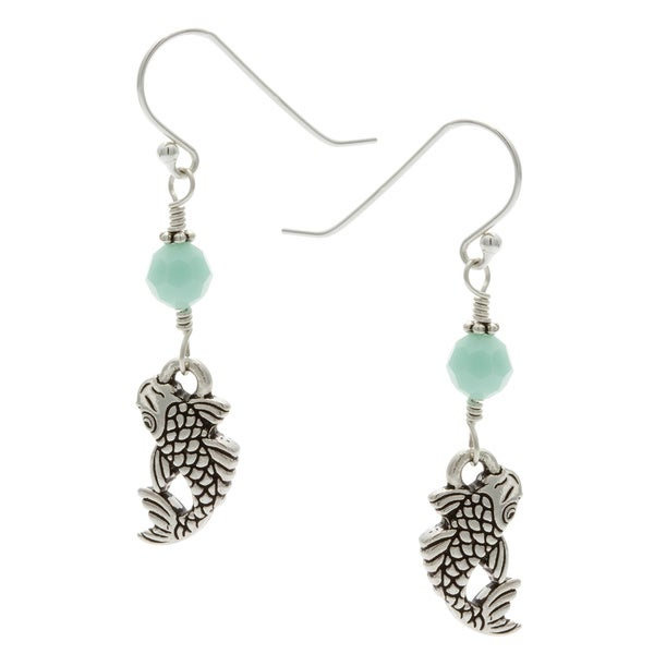Charming Life Sterling Silver 'Lucky Koi' Mint Crystal Hook Earrings