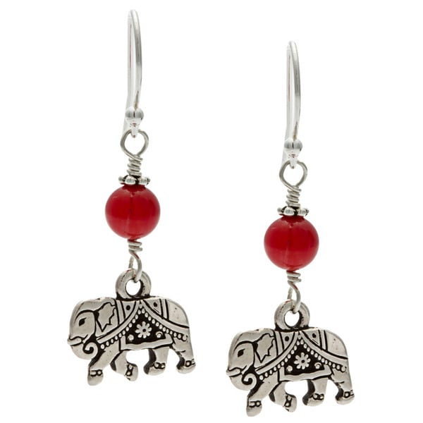 Charming Life Sterling Silver 'My Good Fortune Elephant' Red Coral Hook Earrings