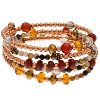 Charming Life Copper 5-coil Carnelian Wrap Bracelet