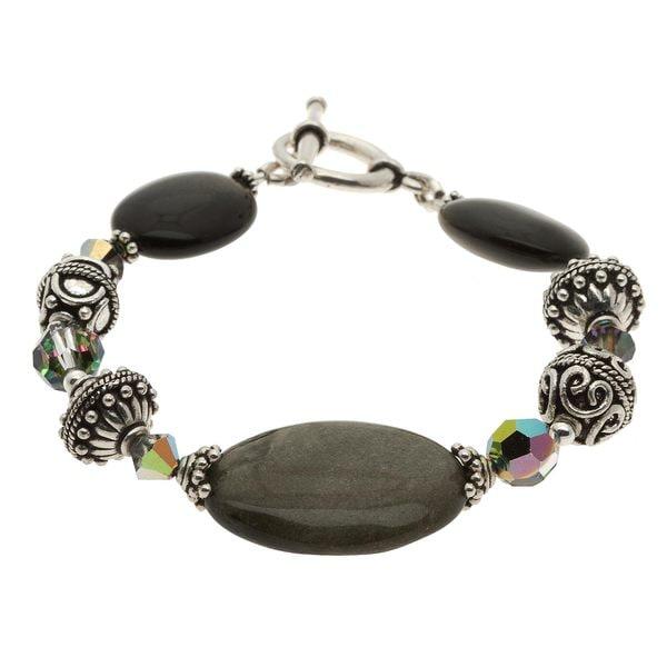 Charming Life Silver Golden Sheen Obsidian Bracelet