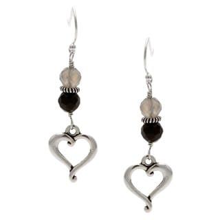 Charming Life Sterling Silver 'Black Heart' Black Onyx Hook Earrings
