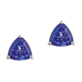 D'Yach Sterling Silver Trillion-cut Tanzanite Stud Earrings