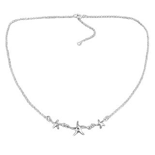 Sterling Silver Three Lucky Charm Starfish Necklace (Thailand)