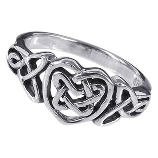 Sterling Silver Forever Binding Love Celtic Heart Ring (Thailand)