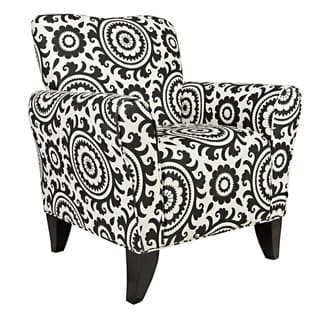 Portfolio Seth Black Medallion Curved Back Arm Chair