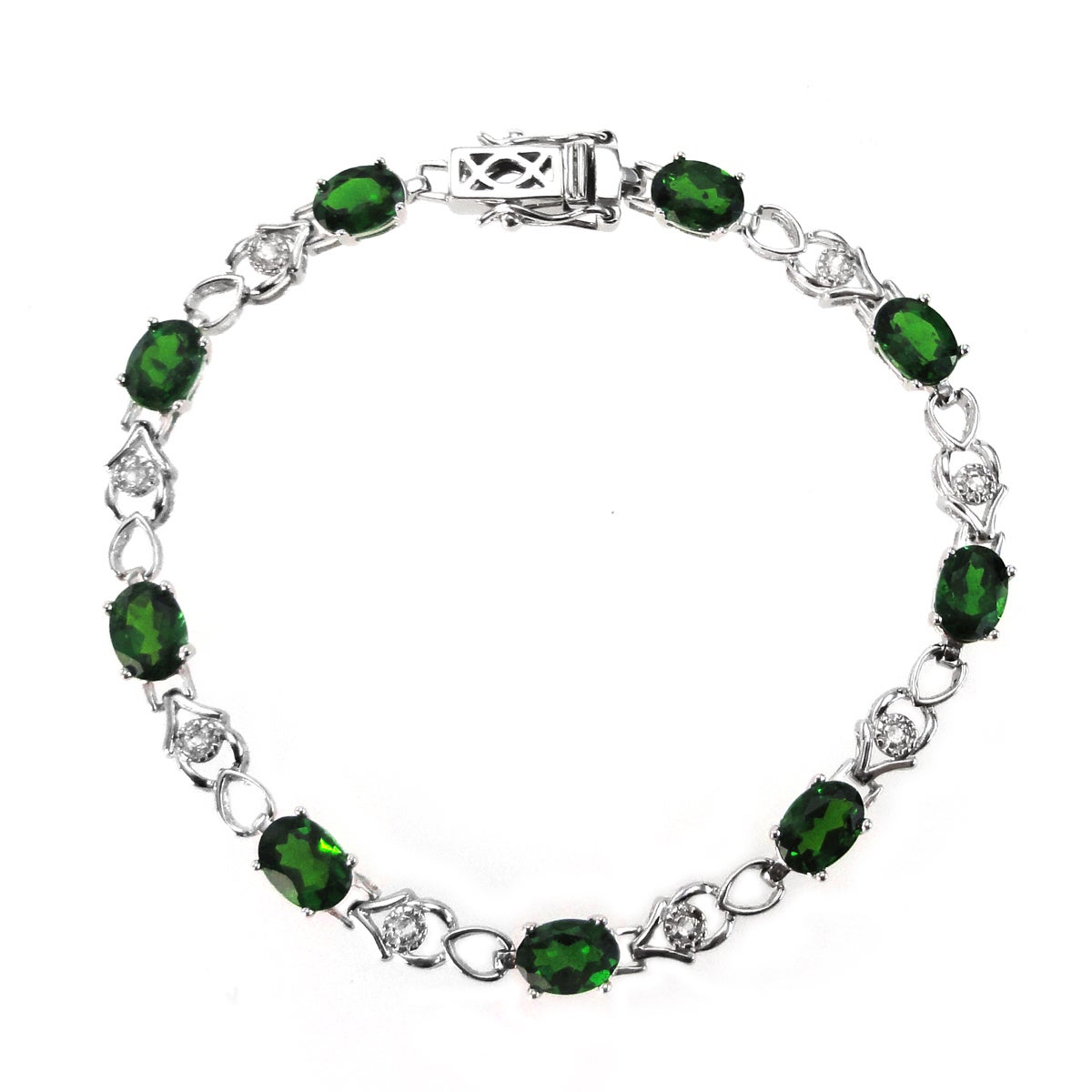 De Buman Sterling Silver Chrome Diopside and White Topaz Bracelet
