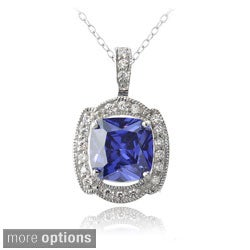 Icz Stonez Sterling Silver White and Blue Cubic Zirconia Necklace
