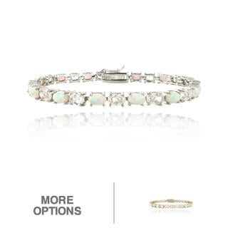 Glitzy Rocks Silver Created Opal and Cubic Zirconia Oval Tennis Bracelet