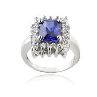 Glitzy Rocks Sterling Silver Blue Cubic Zirconia Emerald-Cut Ring