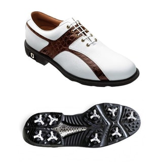 FootJoy Men's Icon Caiman Print White/ Brown Golf Shoes