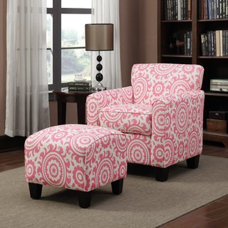 Portfolio Park Avenue Magenta Pink Medallion Arm Chair and Ottoman