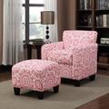 Portfolio Park Avenue Magenta Pink Medallion Arm Chair and Ottoman