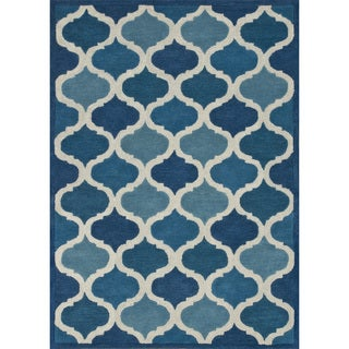 Hand-tufted Logan Cobalt Blue Wool Rug (9'3 x 13')