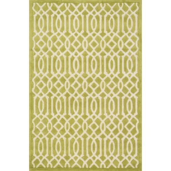 Hand-tufted Logan Apple Green Wool Rug (9'3 x 13')