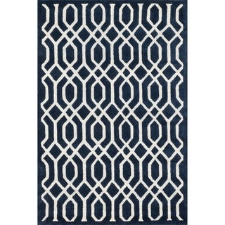 Hand-tufted Logan Navy Wool Rug (5'0 x 7'6)
