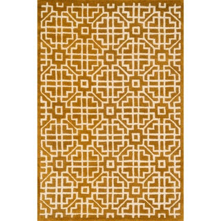 Hand-tufted Logan Gold Wool Rug (5'0 x 7'6)