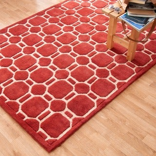 Hand-tufted Logan Red Wool Rug (7'10 x 11'0)