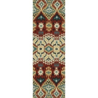 Hand-tufted Arianna Red/ Multi Wool Rug (2'6 x 7'6)
