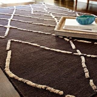 Handcrafted Lennon Turkish Coffee Wool Rug (3'6 x 5'6)