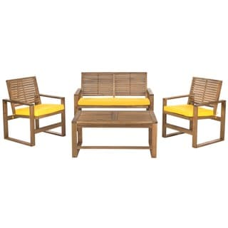 Safavieh Outdoor Living Ozark Brown/ Yellow Acacia 4-piece Patio Set