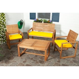 Safavieh Outdoor Living Ozark Brown/ Yellow Acacia 4-piece Patio Set