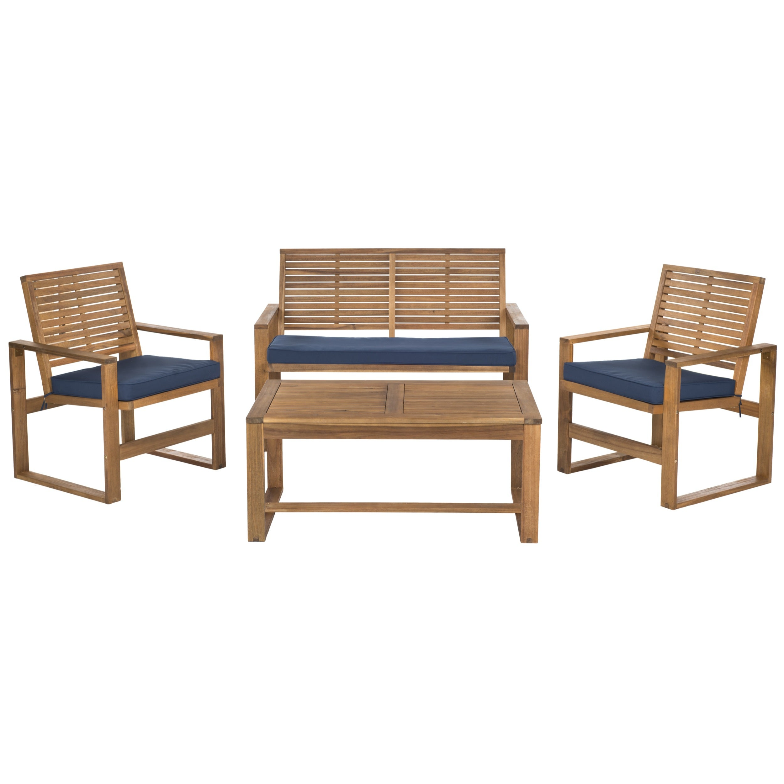 Safavieh Outdoor Living Ozark Brown/ Navy Acacia Wood 4-piece Patio Set