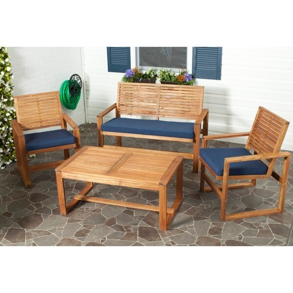 safavieh outdoor living ozark brown navy acacia wood 4 piece patio