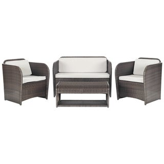 Safavieh Outdoor Living 'Caprina' Brown/ Beige 4-piece Patio Set